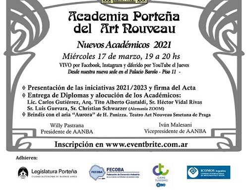 Entrega de diplomas Nuevos Académicos Art Nouveau 2021
